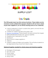 SMS Supply List - Grade 5