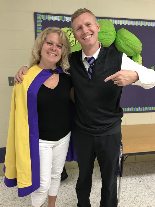 "Michelle Schneider, Schoolcraft Psychologist, being recognized with the ""Hero Cape"" at Schoolcraft Elementary."