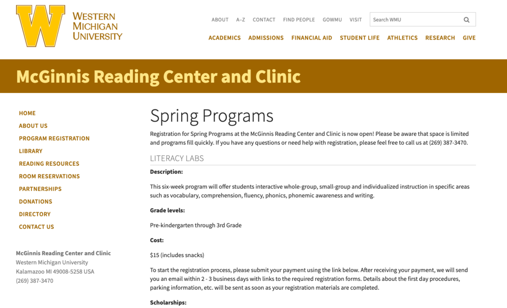 WMU Literacy Lab website photo